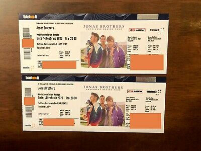 Jonas Brothers 2 Biglietti PARTERRE EARLY ENTRY  Milano 14/02 Tickets