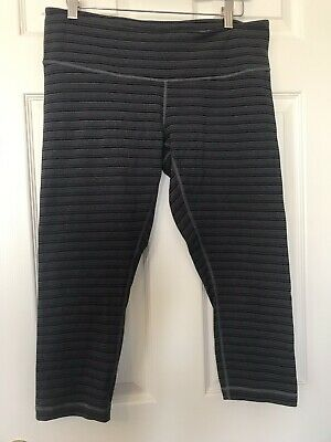 42a6dcb6ba70aa LULULEMON Wunder Under Crop Pants Stripe Deep Coal Black Run Yoga Size 12
