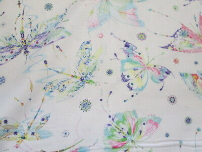 Dragonfly Dragon Fly Teal Tan Light Blue White Cotton Fabric FQ
