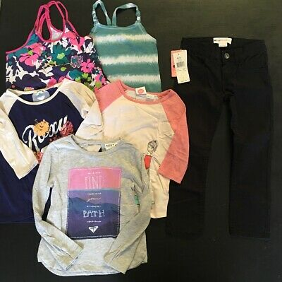 ROXY Shirts / Jeans Lot Size 5 Little Girls Black Skinny Tank Tops Raglan