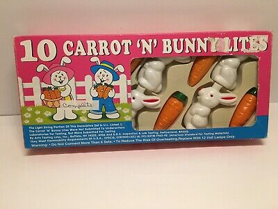 Set of 10 EASTER CARROT & BUNNY STRING LIGHTS Bunnies DECOR Blow Mold