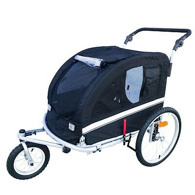 MB Booyah Large Pet Dog stroller and Bike Bicycle Trailer with Suspension Black