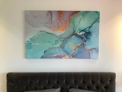 Abstract Modern Wall Art, Bedroom/Living Room Feature, Green/Blue Print