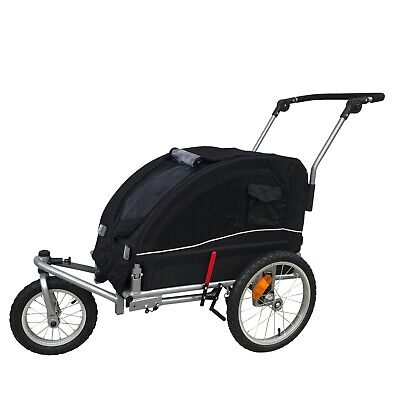 Booyah Medium Pet Bicycle Trailer and Dog Stroller with Suspension Shocks Black