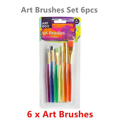 6 x Artist Paint Brushes Acrylic Watercolor Oil Transparent Handle Ast Sized