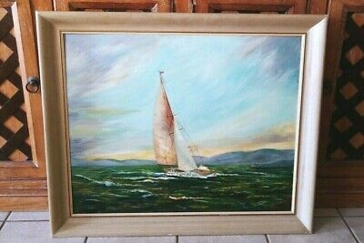 Antique Oil On Panel Board Painting Signed M. Whitelock Sail Boat On Rough Sea