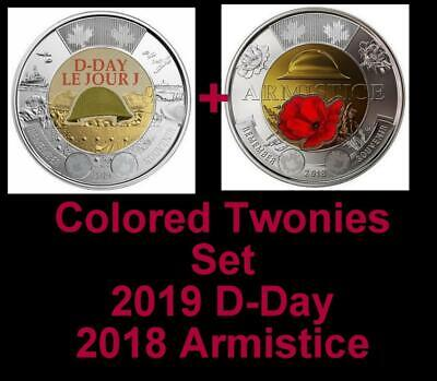 2019 CANADA 🥇 D-Day + 2018 Armistice $2 Dollar Coins - Colored  BU from Roll 🏆