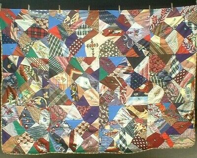 Antique Vintage 1930S/60S Stunning Stained Glass Folk-Art Patchwork Quilt Woww!