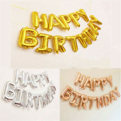 "Self Inflating Happy Birthday Banner Balloon Bunting 16"" Letter Foil Straw Decor"