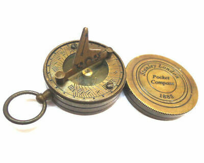 Brass Pocket Sundial Compass w/ Lid Magnetic Nautical Maritime qp1