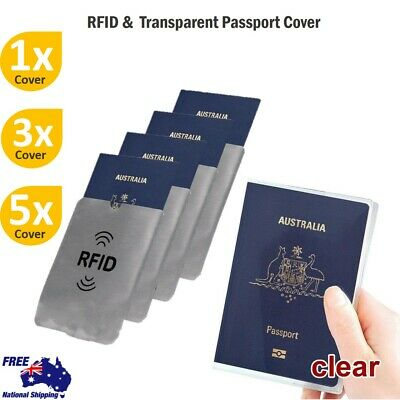 Passport Cover Transparent Protector RFID Blocking Sleeve Secure Credit Card ID