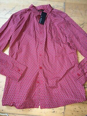 M&S Boys Red Patterned Shirt Age 13-14 Bnwt
