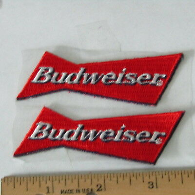 (2) Budweiser Beer Red Bowtie Embroidered Patch Bud Anheuser-Busch 3 1/2''