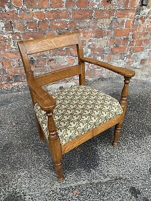 Early 20Th Century Antique Continetal Oak Armchair / Elbow Chair - Desk Chair