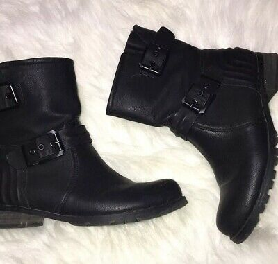 WOMENS DOLCIS PIPER OFFICE GRIP SOLE BIKER ANKLE BOOTS BLACK MEMORY FOAM UK 6