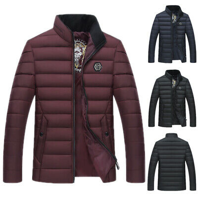 Mens Quilted Designer Fashion Jacket Padded Bubble Puffer Zip Coat 3 COLORS Warm