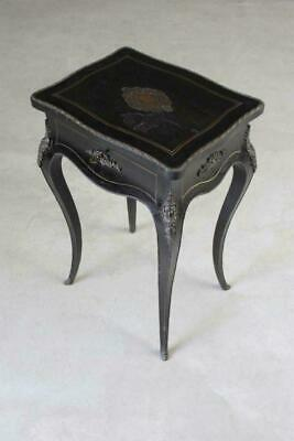 Antique French Ebonised Side Hinged Lid Work Sewing Table