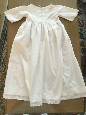 "Antique Baby Christening Gown Dress Lace Embroidery VGC 18"" Chest"