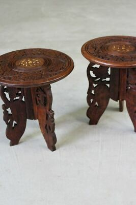 Pair Small Eastern Indian Side End Bedside Tables