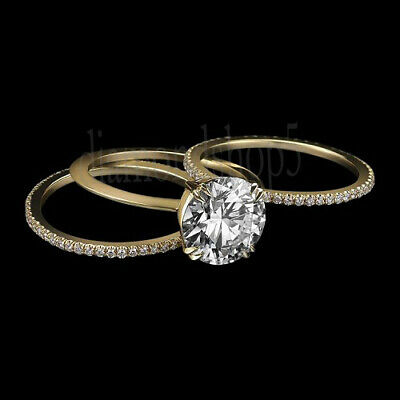 2.16 Ct Near White Moissanite Yellow Gold Over Engagement Ring Set With 2 Band