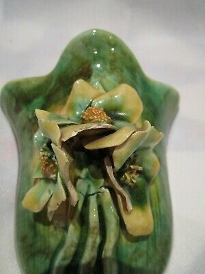 Sheila Ann Australian Pottery Wall Pocket Vase with Applied Flowers A/F