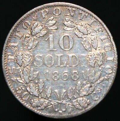 1868   Italian States Papal States 10 Soldi   Silver   Coins   KM Coins