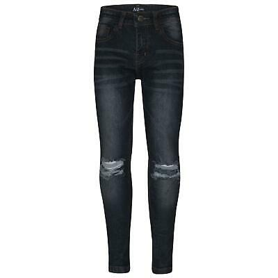 Kids Boys Skinny Jeans Black Denim Knee Ripped Slim Stretchy Bikers Pant Trouser