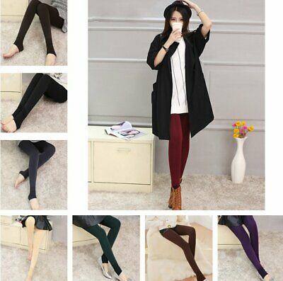 Women Warm Thick Fleece Fur Lined Thermal Leggings Solid Stretch Winter Pants TU