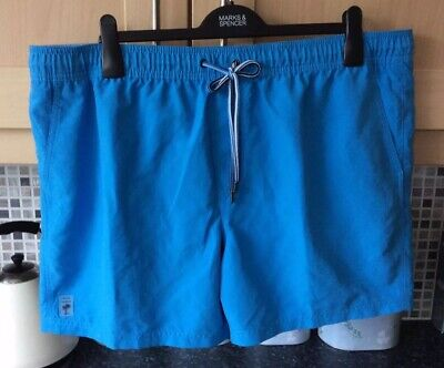 """Mens Blue Elasticated Waist Swim Shorts Size XXL 42""""/44"""" From M&S In VGC"""