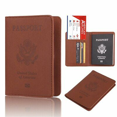 Leather Passport Case Holder RFID Blocking Travel ID Credit Card Wallet Cover TU