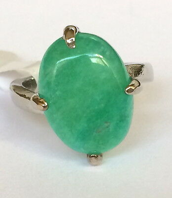 Silver Green Jade Stone Cocktail Ring Size 6 7 Oval Solitaire USA Seller Plated