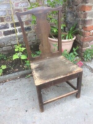 Antique 18th century Oak Joint Chair-country- Georgian hall Chair