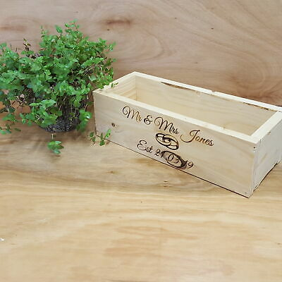 MR&Mrs Personalised Rustic Wedding Table Centrepiece Wooden Wedding Crate Box