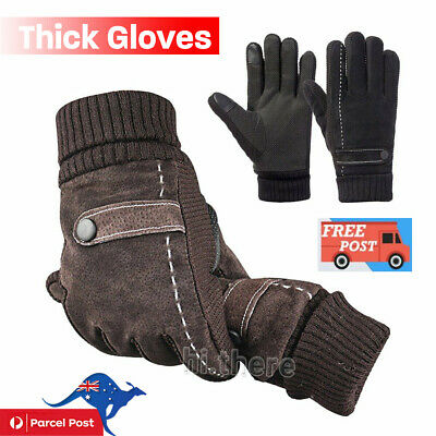 Men's Male Winter Thermal Thick Gloves Touch Screen Mittens Driving Riding Ski