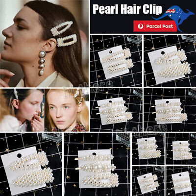Popular Women Pearl Hair Clip Snap Barrette Stick Hairpin Hair Accessories Gift