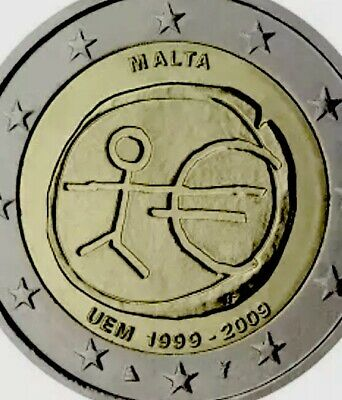 Malta Coin 2€ Euro 2009 Commemorative EMU monetary Union New UNC From Roll