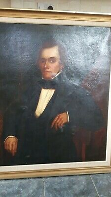 Large Antique 19th Century Oil Painting of a Gentleman on Canvas