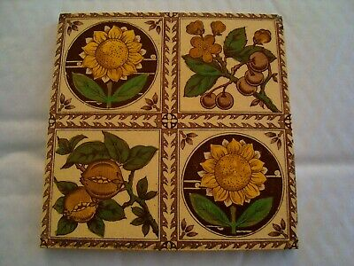 Aesthetic Movement antique tile - sunflowers, pomegranate and cherries  20/100