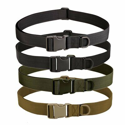 Buckle Military Trouser Belt Army Tactical Canvas Webbing Hiking Outdoor TU