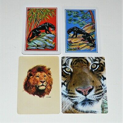 BIG CATS - Lot of 4 Single Vintage Swap Playing Cards Lions Tigers Panthers