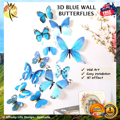New 3D Wall Art Butterflies - Blue - Art Deco Style adhesive stick on 12 pc