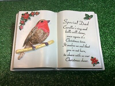 Special Dad Christmas Robin Book, Grave Memorial Ornament, Graveside Remembrance