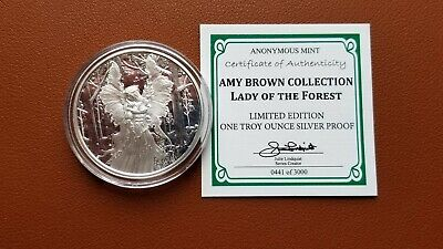 Amy Brown Lady Of The Forest Fairy 1 Oz Silver Proof Round Capsule & Coa