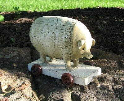 PIG PULL TOY Sculpture*Primitive Home/French Country Barn Farmhouse Home Decor