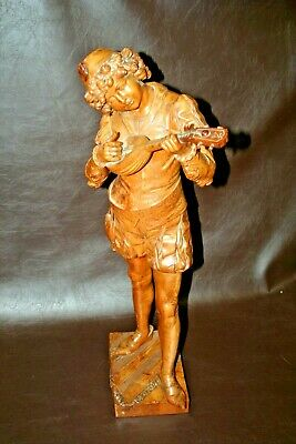"Antique French Style Hand Carved 28"" Wooden Sculpture - Boy Playing Mandolin"