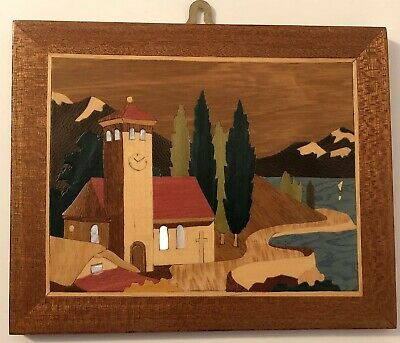 Vintage - Colourful Wood Marquetry Picture Plaque Mother of Pearl Inlay - Church