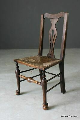 Single Antique Rustic Country Oak & Elm Rush Kitchen Dining Chair