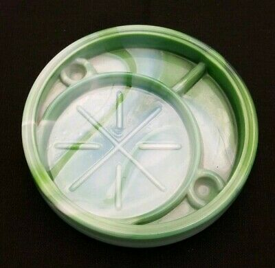 Vintage McKee Bottoms Up Green Jadeite Glass 77725 Repro Glass Coaster Exotic