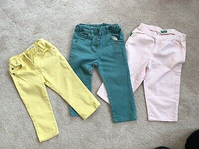 Vertbaudet/united Colour Of Benetton Jean/trousers. 18 Months. Green Yellow Pink