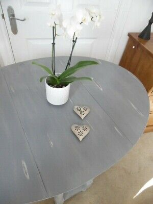 Beautiful oval Shabby chic wooden gate leg grey drop leaf table antique dining
